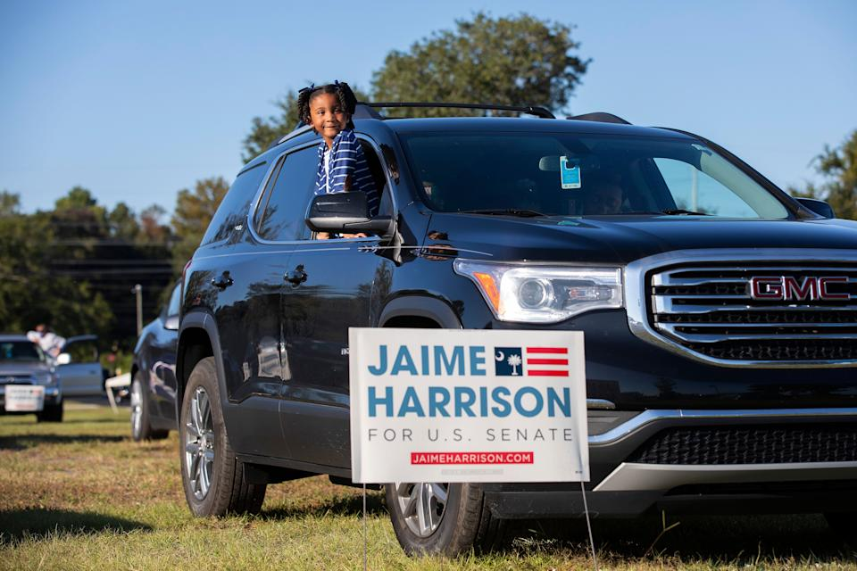 Braylen Washington waits for a drive-in campaign rally for Jaime Harrison to begin in North Charleston.  (Photo: The Washington Post via Getty Images)