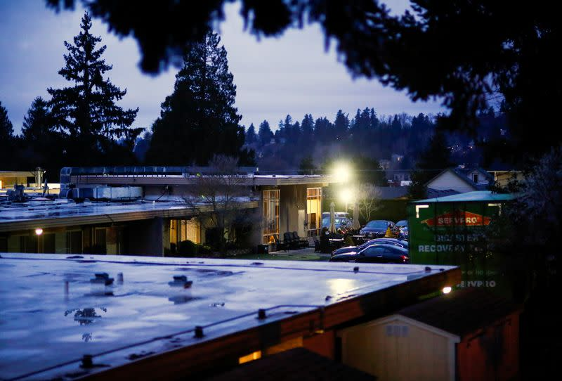 The Life Care Center of Kirkland, a long-term care facility linked to several confirmed coronavirus cases, is pictured in Kirkland