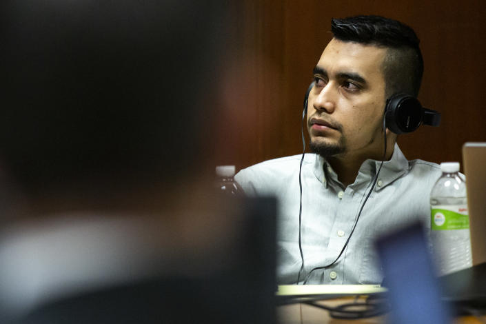 Cristhian Bahena Rivera listens to court proceedings in his trial, on Monday, May 24, 2021, in the Scott County Courthouse, in Davenport, Iowa. Bahena Rivera is on trial after being charged with first degree murder in the death of Mollie Tibbetts in July 2018. (Kelsey Kremer/The Des Moines Register via AP, Pool)