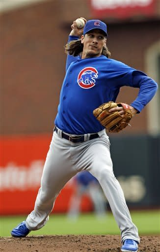 Chicago Cubs starting pitcher Jeff Samardzija throws to the San Francisco Giants during the second inning of a baseball game in San Francisco, Monday, June 4, 2012. (AP Photo/Marcio Jose Sanchez)