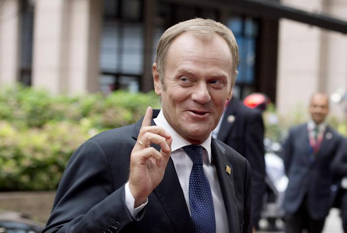 Polish Prime Minister Donald Tusk arrives on August 30, 2014 for a European Union summit at EU headquarters in Brussels (AFP Photo/Alain Jocard )