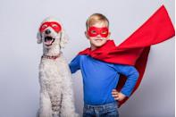 """<p>A simple mask (which you can cut from felt or buy on the cheap) and a fabric cape are all your son or daughter really needs to <a href=""""https://www.countryliving.com/diy-crafts/g21345654/diy-superhero-costumes/"""" rel=""""nofollow noopener"""" target=""""_blank"""" data-ylk=""""slk:become a superhero"""" class=""""link rapid-noclick-resp"""">become a superhero</a> in a flash. Maybe you can even get the dog to wear a <a href=""""https://www.countryliving.com/life/kids-pets/g4897/costumes-with-dog/"""" rel=""""nofollow noopener"""" target=""""_blank"""" data-ylk=""""slk:matching costume"""" class=""""link rapid-noclick-resp"""">matching costume</a> for a photo, too.</p><p><a class=""""link rapid-noclick-resp"""" href=""""https://go.redirectingat.com?id=74968X1596630&url=https%3A%2F%2Fwww.orientaltrading.com%2Fbright-color-masks-a2-14_1841.fltr&sref=https%3A%2F%2Fwww.countryliving.com%2Fdiy-crafts%2Fg23785711%2Flast-minute-halloween-costumes%2F"""" rel=""""nofollow noopener"""" target=""""_blank"""" data-ylk=""""slk:SHOP COLORFUL MASKS"""">SHOP COLORFUL MASKS</a></p>"""