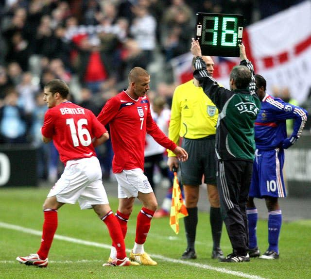 Beckham was replaced by David Bentley in the 63rd minute against the French (Martin Rickett/PA)