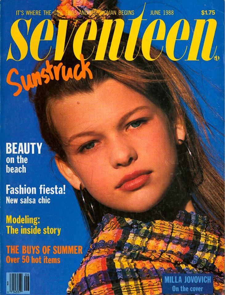 "<b>Milla Jovovich, 1988</b>  Milla Jovovich -- who has graced over 100 magazine covers -- was just 12 when she appeared on the June 1988 issue of <i>Seventeen</i>! Who knew the former child model would go on to star in such films as ""The Fifth Element"" and ""Resident Evil""?    <a href=""http://www.seventeen.com/fun/articles/cover-battle?link=rel&dom=yah_omg&src=syn&con=art&mag=svn "" target=""new"">Vote for Your Favorite Seventeen Cover</a> Courtesy Seventeen"