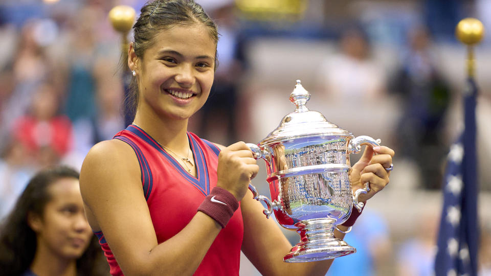 Emma Raducanu, pictured here celebrating after winning the US Open.