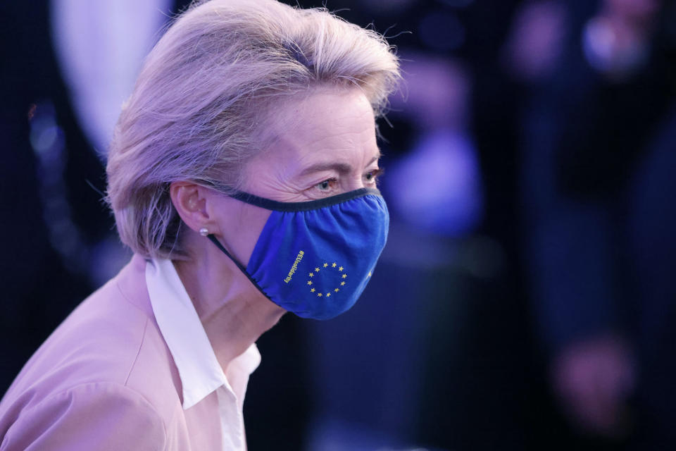 European Commission President Ursula von der Leyen meets Erasmus students during Europe Day ceremony and the Future of Europe conference at the European Parliament in Strasbourg, eastern France, Sunday, May 9, 2021. (AP Photo/Jean-Francois Badias, Pool)