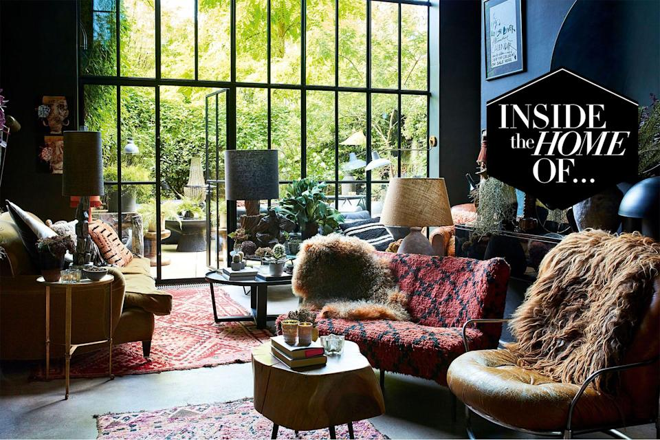 """<p>Abigail Ahern is one of British interior design's biggest stars. It's not easy to pinpoint her eclectic style, but maximalism, bohemia and warmth are key themes that run throughout her work. Ahern is adept at creating atmospheric nooks out of nowhere, personality where it was once stark and magic where a space may have felt bare. Her <a href=""""https://go.redirectingat.com?id=127X1599956&url=https%3A%2F%2Fabigailahern.com%2F&sref=https%3A%2F%2Fwww.harpersbazaar.com%2Fuk%2Fculture%2Flifestyle_homes%2Fg36164371%2Finside-the-home-of-abigail-ahern%2F"""" rel=""""nofollow noopener"""" target=""""_blank"""" data-ylk=""""slk:homeware store in Angel"""" class=""""link rapid-noclick-resp"""">homeware store in Angel </a>is a mecca for those who want to inject their living space with rich colour and texture, and her daily Instagram tutorial are pored over by her 200,000-plus followers.</p><p>It comes as no surprise then that her own home in East London is aesthetically pleasing; in fact it's hard to know where to look first. A mix of styles, from glamorous to crafty, her four-storey 19th-century property is a solid eyeful, filled with pottery, dramatic dark walls, comfortable-looking deep sofas and vintage rugs. The pièce de résistance is the double height glass wall in the living room, which opens out onto a forest-like garden with an outdoor kitchen. """"I love the inside-outside relationship we now have with the garden,"""" says Ahern. """"The glass wall just brings in so much light.""""</p><p>There will be some who think that Ahern's bountiful approach to interiors won't have the same effect in a more bijou space. """"Maximalism works just as beautifully in smaller homes as it does in larger homes,"""" says Ahern. """"The trouble with not putting many things into little rooms is that you almost emphasise how small a space is. As odd as this might sound, when you go full on maximalist, the eye doesn't even think how compact a space is - just how cool it is.""""</p><p><a href=""""https://www.amazon.co.uk/Everything-Maximalist-"""