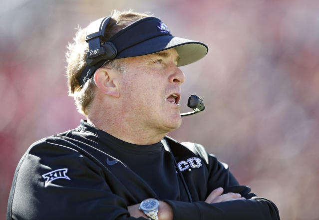 TCU coach Gary Patterson's team gets a second shot at Oklahoma on Saturday.  (AP Photo/Brad Tollefson)