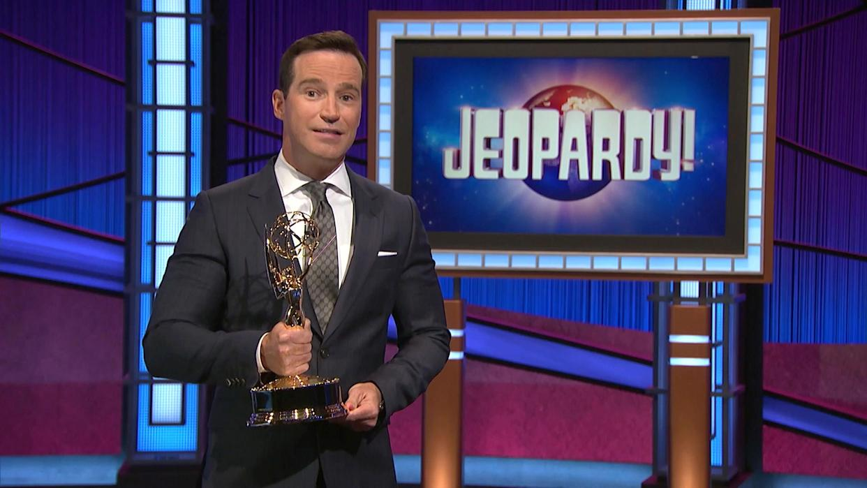 UNSPECIFIED - JUNE 25: In this screenshot released on June 25, Mike Richards accepts the award for Outstanding Game Show for Jeopardy! during the 48th Annual Daytime Emmy Awards broadcast on June 25, 2021. (Photo by Daytime Emmy Awards 2021 via Getty Images)