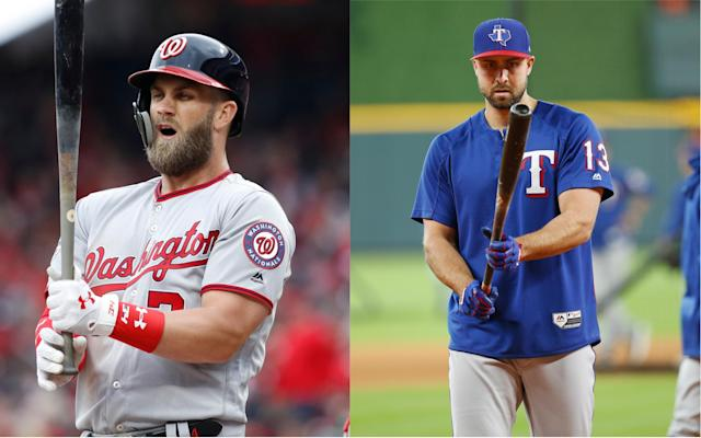 When they were kids, Joey Gallo (right) quit being a catcher because Bryce Harper made him cry. (Getty)