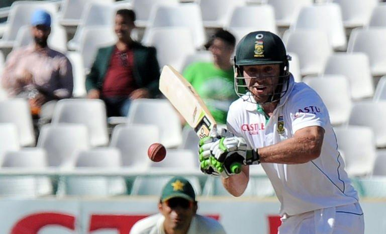 South African cricketer AB de Villiersplays a shot on day four of the second test between South Africa and Pakistan in Cape Town at Newlands on February 17, 2013. South Africa reinforced their status as the world's number one Test team when they beat Pakistan by four wickets