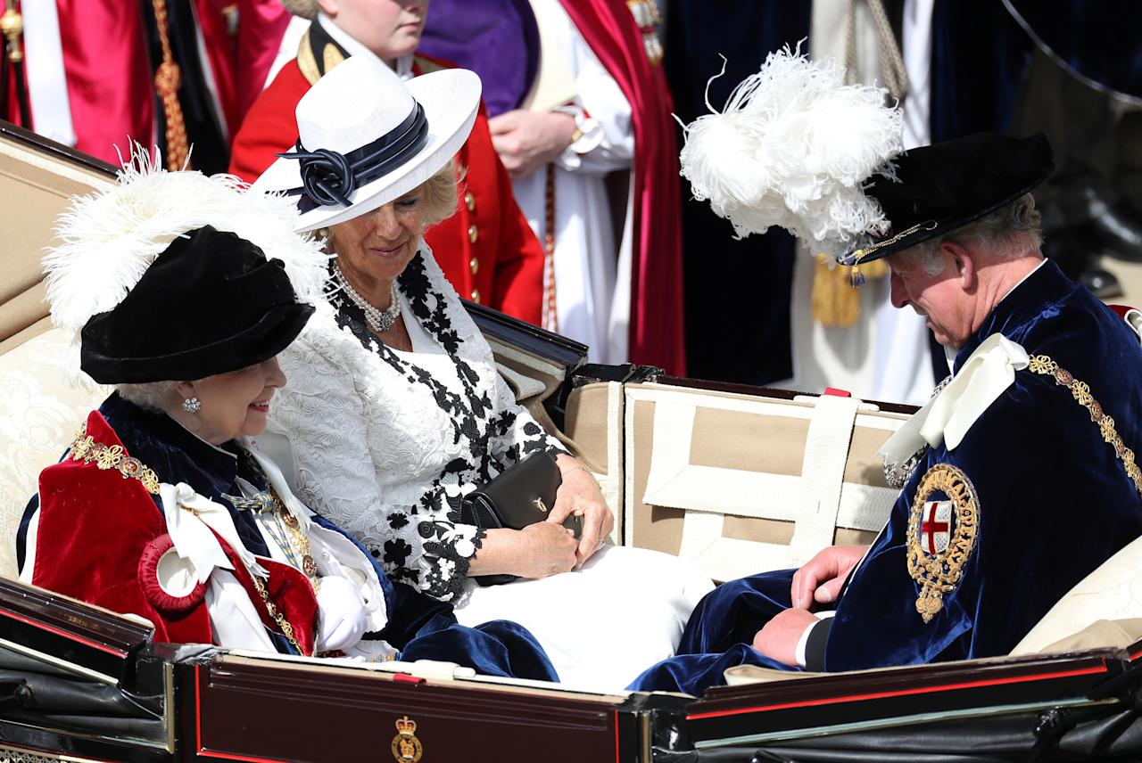 <p>The Monarch was joined by her son, Prince Charles, and his wife, Camilla, who also donned their Sunday best for the day. Photo: Getty Images </p>