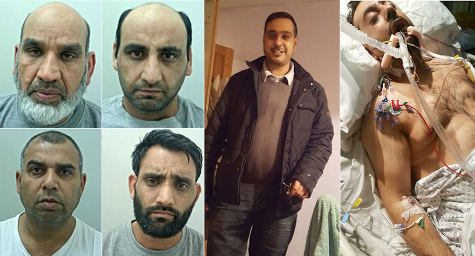 Horrific: The four men, left, were jailed for life following the ciocious attack on Mr Choudry, right. (PA and SWNS)