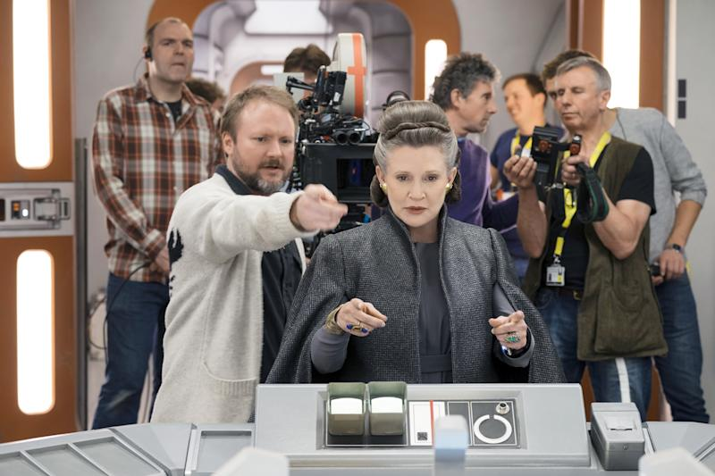 Rian Johnson and Carrie Fisher on the set of 'Star Wars: The Last Jedi' (Photo: David James/ © Walt Disney Studios Motion Pictures/Lucasfilm Ltd. /Courtesy Everett Collection)