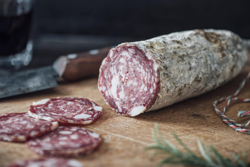 Foods like salami are also needed to ensure your teeth stay in tip-top condition [Photo: Getty]