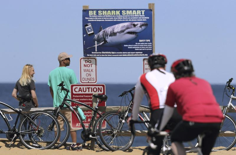 FILE - In this May 22, 2019 file photo, a couple stands next to a shark warning sign while looking at the ocean at Lecount Hollow Beach in Wellfleet, Mass. Local chamber of commerce data suggests Cape Cod lodging and beach visit numbers are down after uncommon tornados hit just one year after a pair of shark attacks. (AP Photo/Charles Krupa, File)