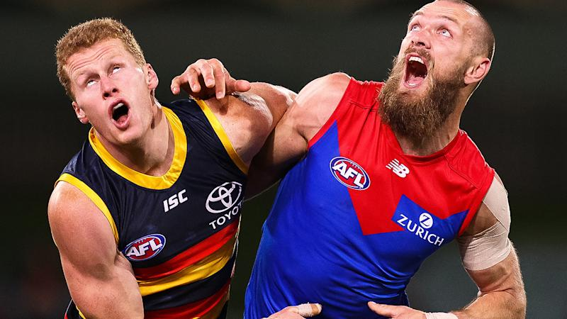 Max Gawn, pictured here in action for the Demons against Adelaide Crows.