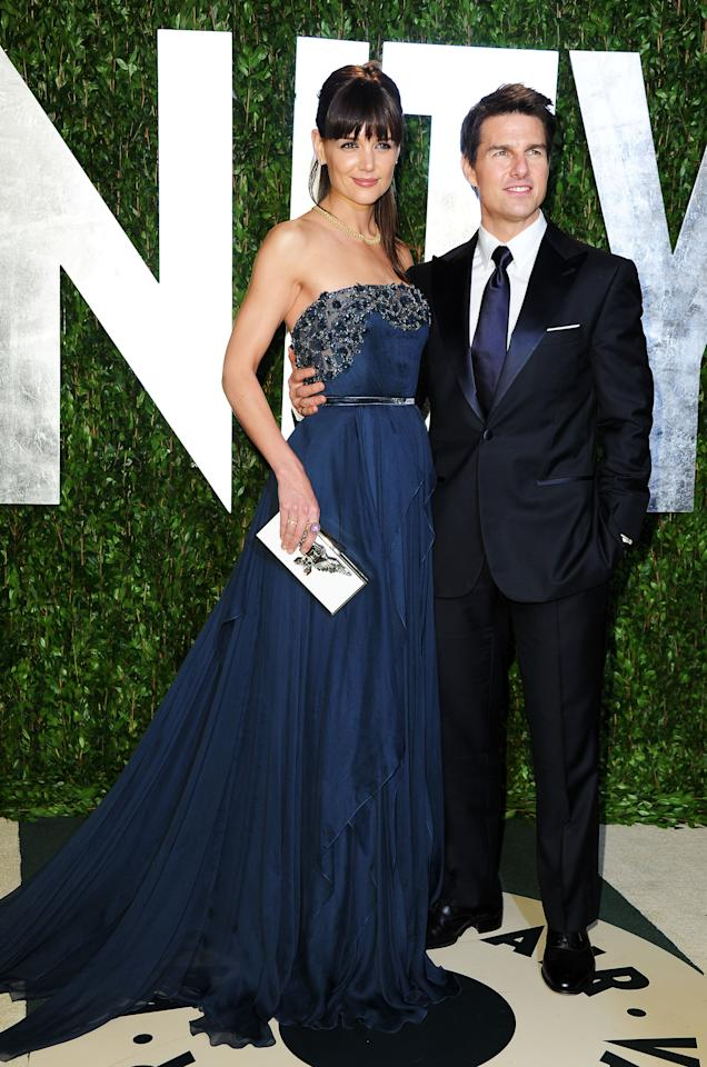 WEST HOLLYWOOD, CA - FEBRUARY 26:  Actors Katie Holmes and Tom Cruise arrive at the 2012 Vanity Fair Oscar Party hosted by Graydon Carter at Sunset Tower on February 26, 2012 in West Hollywood, California.  (Photo by Pascal Le Segretain/Getty Images)