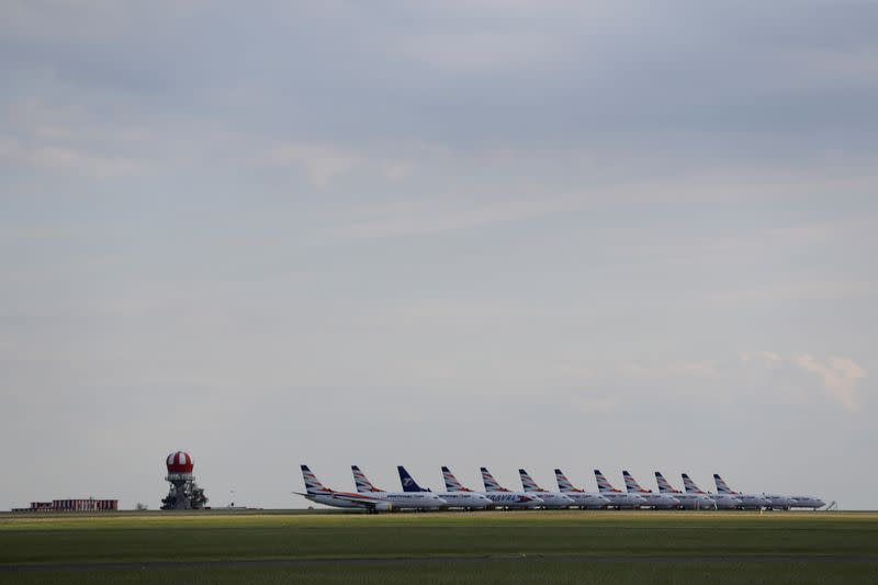 FILE PHOTO: Planes are seen parked on the tarmac at Vaclav Havel Airport due to the coronavirus disease (COVID-19) concerns in Prague, Czech Republic, May 21, 2020.