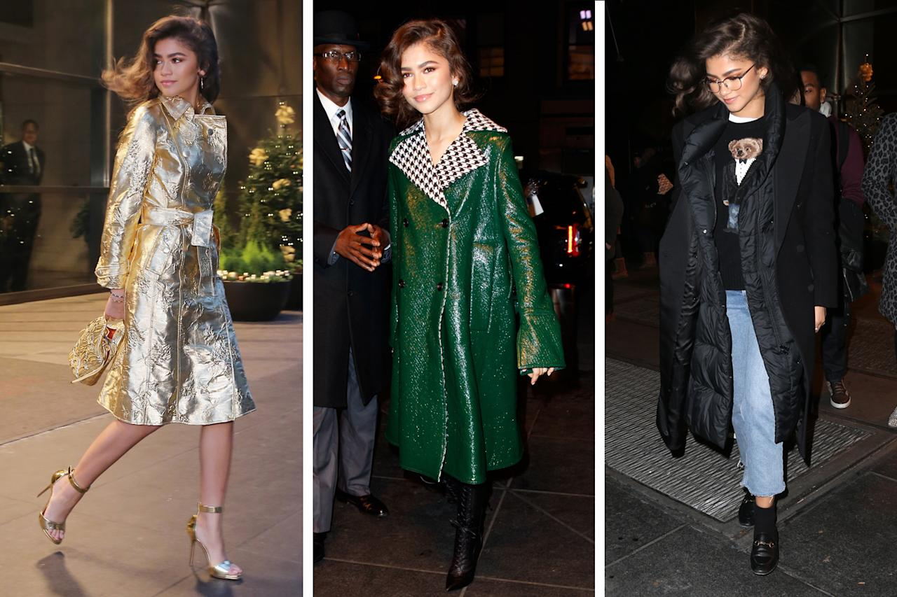 <p>The actress has been stepping up her coat game while doing press for her upcoming film. From the gold Giuseppe di Morabito coat and a statement Marni coat to a long down coat layered with black wool, Zendaya knows how to rock any type of outerwear. (Photo: Getty Images/Backgrid) </p>