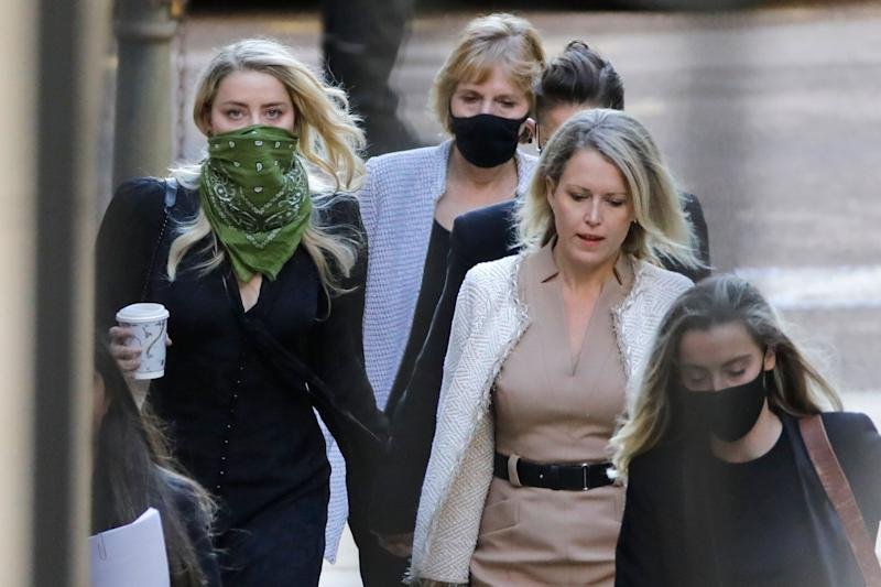 Amber Heard pictured arriving on the fourth day of the libel trial (Photo: TOLGA AKMEN via Getty Images)