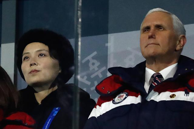 Kim Yo Jong, the younger sister of North Korean leader Kim Jong Un, sat next to Vice President Mike Pence during the 2018 Olympics in South Korea, but the two didn't talk. (Photo: Getty Images)