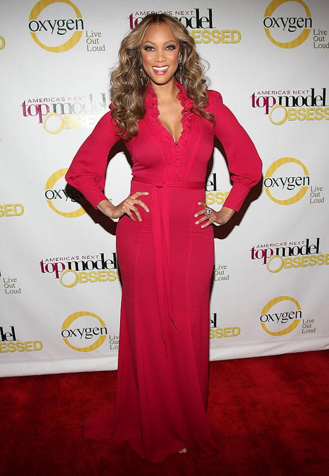 "Tyra Banks was also in New York, where she attended the launch party for""America's Next Top Model"" on Oxygen. Reruns of the reality show will begin airing on the women's network beginning January 18, while Cycle 12 debuts in March on The CW. Jason Kempin/<a href=""http://www.wireimage.com"" target=""new"">WireImage.com</a> - January 12, 2009"