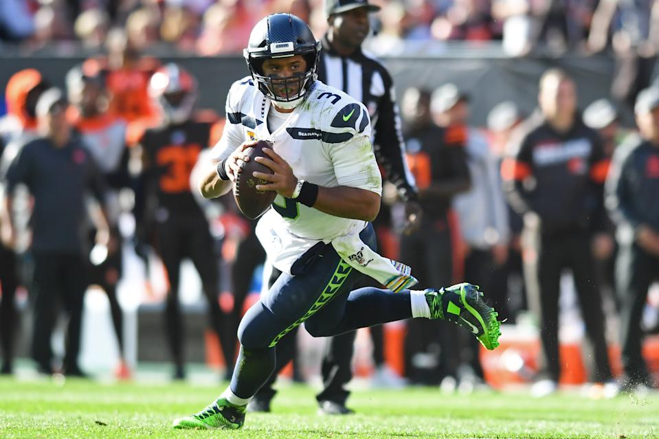 CLEVELAND, OH - OCTOBER 13, 2019: Quarterback Russell Wilson #3 of the Seattle Seahawks looks for an open receiver in the fourth quarter of a game against the Cleveland Browns on October 13, 2019 at FirstEnergy Stadium in Cleveland, Ohio. Seattle won 32-28. (Photo by: 2019 Nick Cammett/Diamond Images via Getty Images)