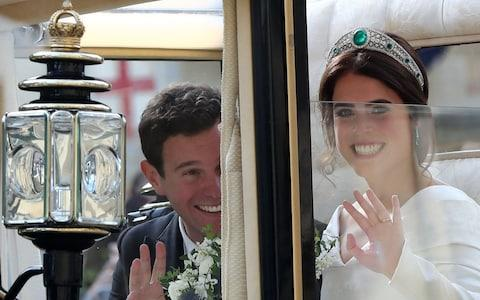 Jack Brooksbank and Princess Eugenie of York in a carriage - Credit: PA