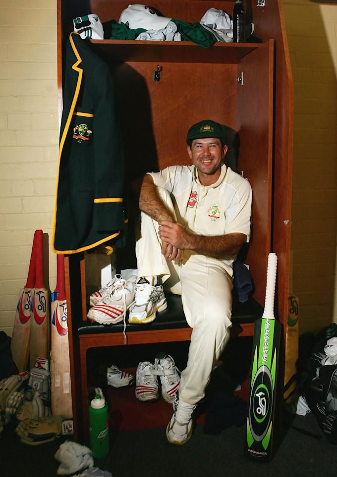 SYDNEY, NSW - JANUARY 06:  Ricky Ponting of Australia reflects on his match winning innings in the rooms after day five of the Third Test between Australia and South Africa played at the SCG on January 6, 2006 in Sydney, Australia.  (Photo by Hamish Blair/Getty Images)