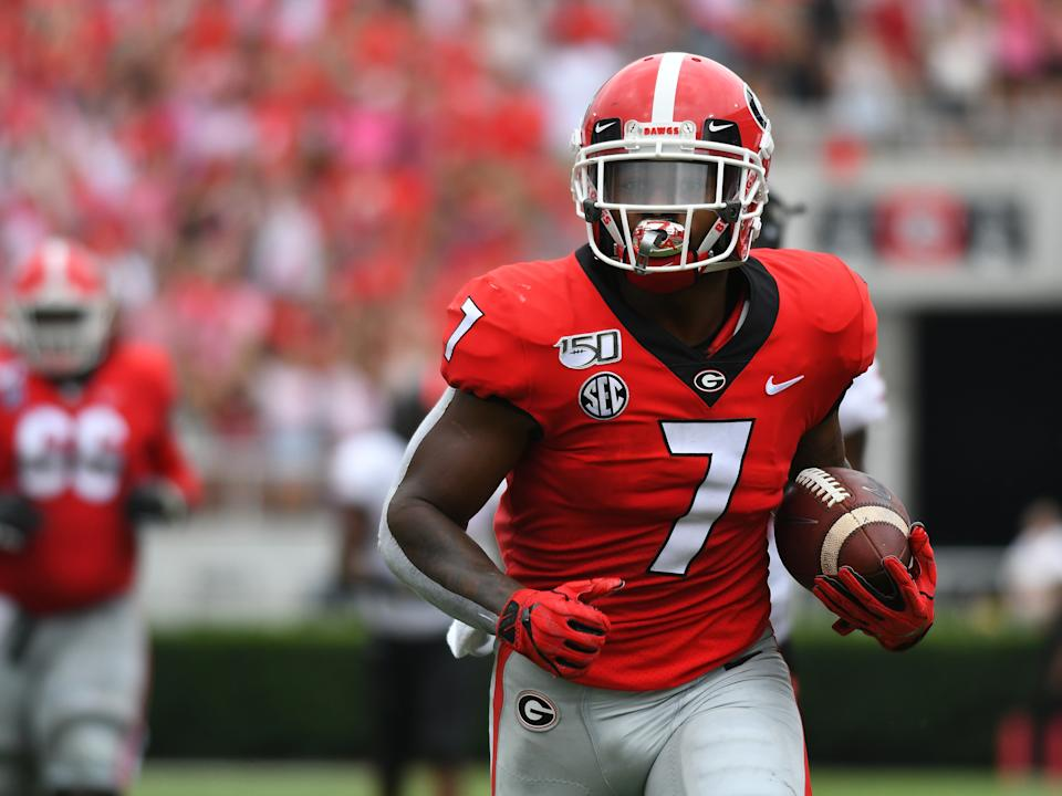 Many felt Georgia running back D'Andre Swift was a first-round talent, and Detroit didn't wait long to nab him in Round 2.(Photo by Jeffrey Vest/Icon Sportswire via Getty Images)