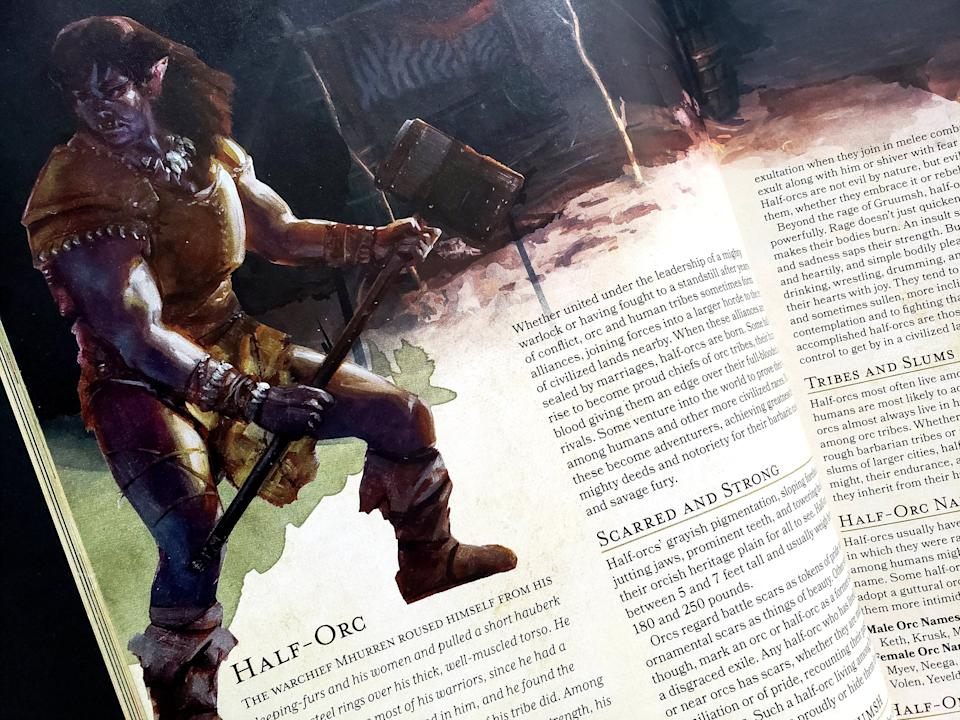 """A half-orc, as depicted in the fifth edition of D&D """"Player's Handbook."""" (Photo: HuffPost US)"""