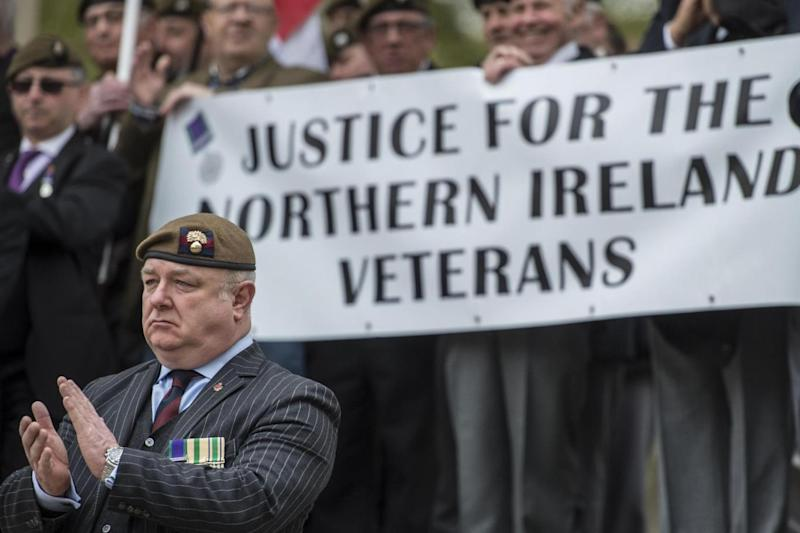 Veterans gathered today on the step of the Horse Guards Parade (PA)