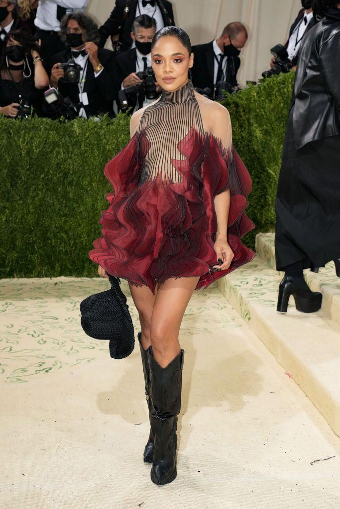 <p>The star of the upcoming <em>Thor: Love and Thunder</em> looked like a delicate flower in kickass boots. Somehow, that seems totally Tessa Thompson to us. </p>