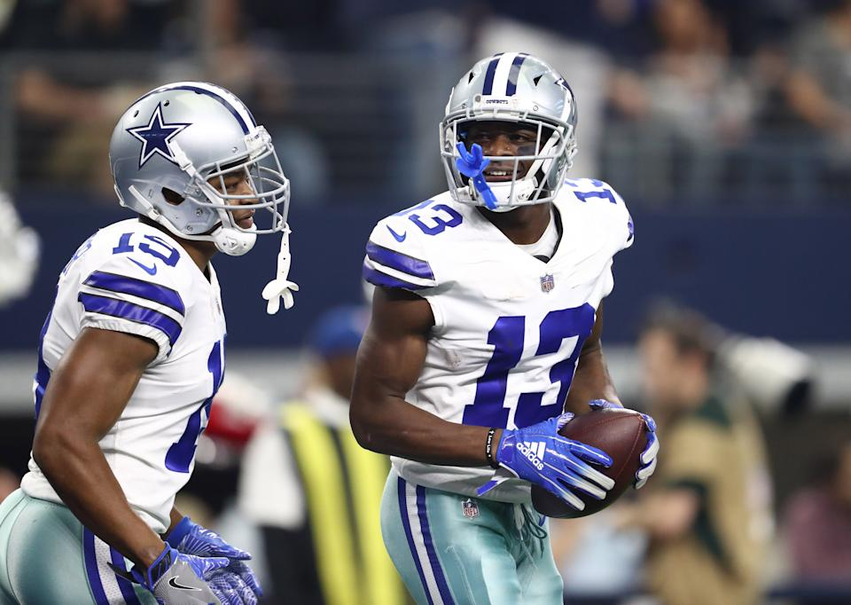 Dec 23, 2018; Arlington, TX, USA; Dallas Cowboys receiver Michael Gallup (13) celebrates his third quarter touchdown with Amari Cooper (19) against the Tampa Bay Buccaneers at AT&T Stadium. Mandatory Credit: Matthew Emmons-USA TODAY Sports