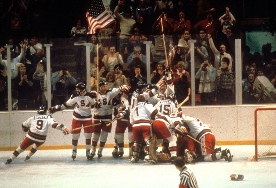 """<p>Also known as the """"Miracle on Ice,"""" a team of nobodies with a coach from Minnesota was able to route the seemingly unstoppable Soviet hockey team, beating them 4-3 and advancing to the final round, where they beat Finland to take gold. </p>"""