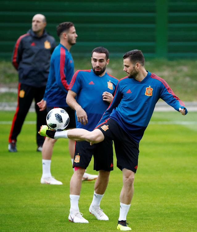 Soccer Football - World Cup - Spain Training - Spain Training Camp, Kaliningrad, Russia - June 24, 2018 Spain's Nacho and Dani Carvajal during training REUTERS/Fabrizio Bensch
