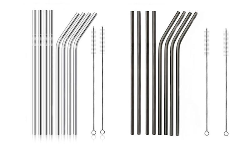 Stainless Steel Straws (8-Pack) in Silver and Black. (Photo: Yahoo Lifestyle Store)
