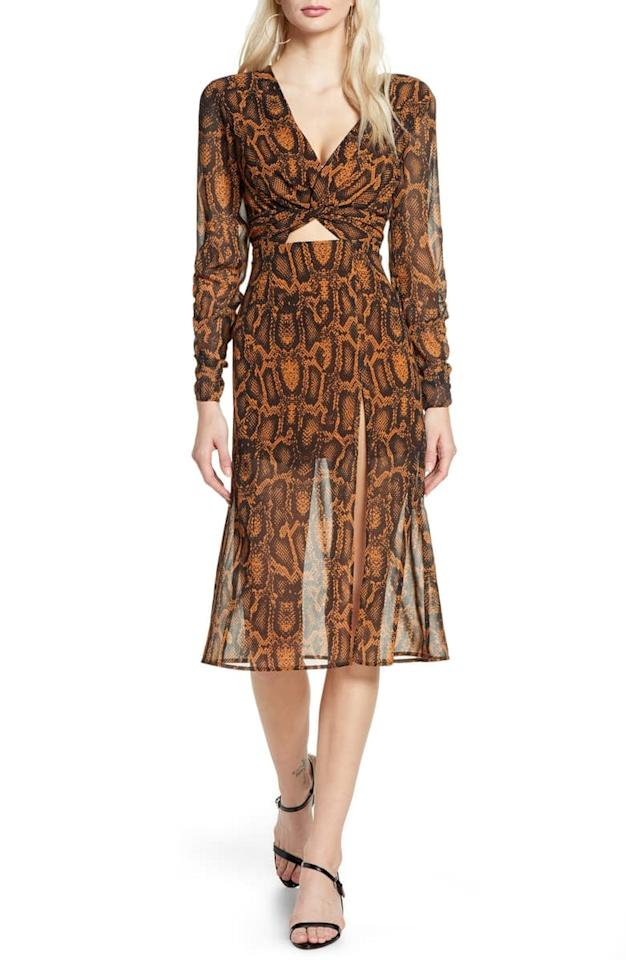 """<p>This <a href=""""https://www.popsugar.com/buy/Finders-Keepers-Lana-Snakeskin-Print-Dress-494950?p_name=Finders%20Keepers%20Lana%20Snakeskin%20Print%20Dress&retailer=shop.nordstrom.com&pid=494950&price=165&evar1=fab%3Aus&evar9=45675751&evar98=https%3A%2F%2Fwww.popsugar.com%2Ffashion%2Fphoto-gallery%2F45675751%2Fimage%2F46684593%2FFinders-Keepers-Lana-Snakeskin-Print-Dress&list1=shopping%2Cfall%20fashion%2Cdresses%2Cwinter%20fashion&prop13=mobile&pdata=1"""" rel=""""nofollow"""" data-shoppable-link=""""1"""" target=""""_blank"""" class=""""ga-track"""" data-ga-category=""""Related"""" data-ga-label=""""https://shop.nordstrom.com/s/finders-keepers-lana-snakeskin-print-long-sleeve-dress/5367677?origin=category-personalizedsort&amp;breadcrumb=Home%2FWomen%2FClothing%2FDresses&amp;color=tan%20snake"""" data-ga-action=""""In-Line Links"""">Finders Keepers Lana Snakeskin Print Dress </a> ($165) includes a flirty little cutout.</p>"""