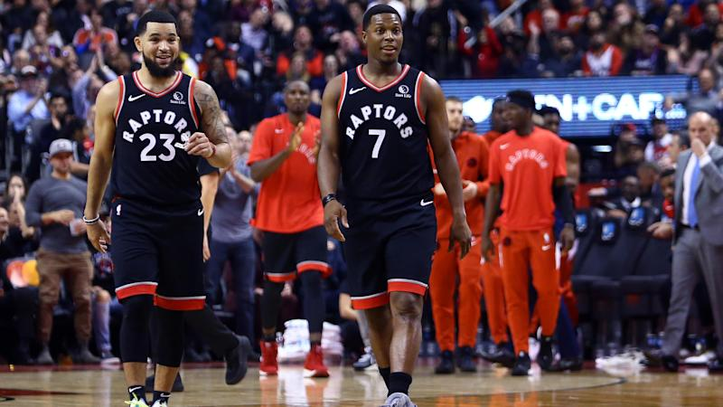 TORONTO, ON - OCTOBER 30: Fred VanVleet #23 and Kyle Lowry #7 of the Toronto Raptors react during the first half of an NBA game against the Detroit Pistons at Scotiabank Arena on October 30, 2019 in Toronto, Canada. NOTE TO USER: User expressly acknowledges and agrees that, by downloading and or using this photograph, User is consenting to the terms and conditions of the Getty Images License Agreement. (Photo by Vaughn Ridley/Getty Images)