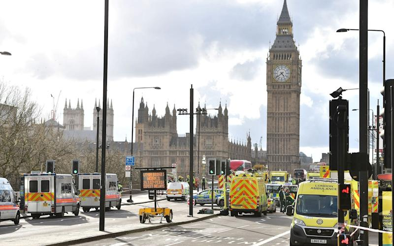 Emergency personnel on Westminster Bridge - Credit: Dominic Lipinski/PA