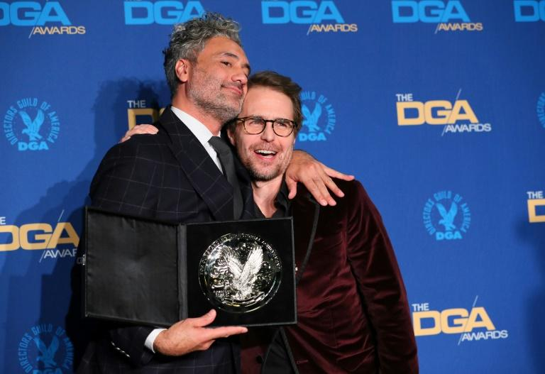New Zealand director/actor Taika Waititi (L, with US actor Sam Rockwell) was nominated for 'Jojo Rabbit'