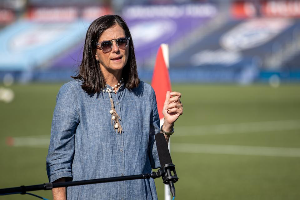 Lisa Baird speaks during an interview at the NWSL's Challenge Cup.