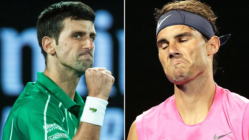 Novak Djokovic, left, could pass or equal Rafael Nadal's 19 Grand Slam victories this year.