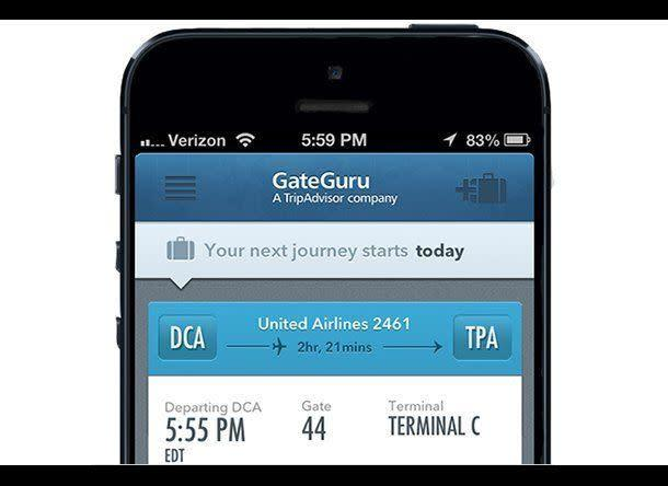 "If your itinerary includes a layover, download an airport-map app like airport <a href=""http://gateguru.com/"" rel=""nofollow noopener"" target=""_blank"" data-ylk=""slk:GateGuru"" class=""link rapid-noclick-resp"">GateGuru</a> to help you pass the time wisely. Not only does GateGuru show you the gate locations around the airport, it also displays the locations of important terminal amenities like restaurants, restrooms, and shops. <br><br> <strong>RELATED:</strong> <a href=""http://www.smartertravel.com/photo-galleries/editorial/best-apps-to-prevent-travel-disasters.html?id=800"" rel=""nofollow noopener"" target=""_blank"" data-ylk=""slk:Best Apps to Prevent Travel Disasters"" class=""link rapid-noclick-resp"">Best Apps to Prevent Travel Disasters</a> <br><br> (Photo: GateGuru)"