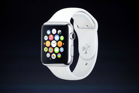 Apple Watch is seen during an Apple event at the Flint Center in Cupertino