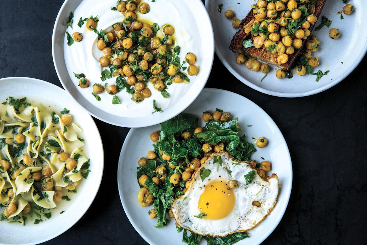 """Chickpea recipes don't need to be complicated to be really delicious. Take this Alison Roman recipe, which gives you chickpeas that are crispy, salty, creamy, and hard to stop eating. <a href=""""https://www.epicurious.com/recipes/food/views/herbed-chickpeas?mbid=synd_yahoo_rss"""">See recipe.</a>"""