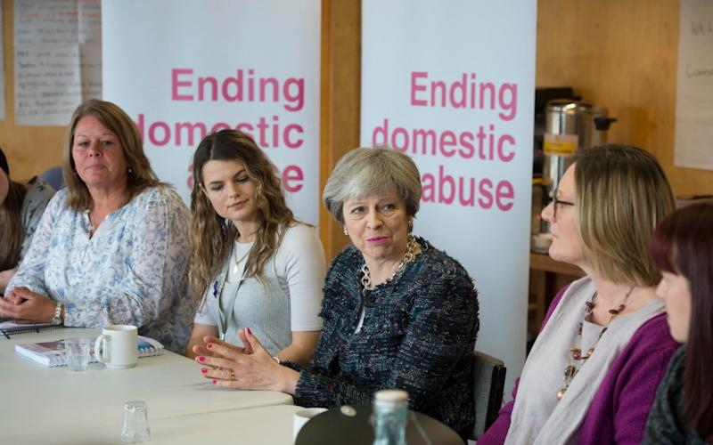 Former Prime Minister Theresa May drops in on a training session for Independent Domestic Violence Advisors at House Mill, Three Mill Lane, Bow. - Geoff Pugh /The Telegraph