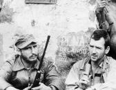 """<p>Fidel Castro, young Cuban revolutionary leader is being interviewed in his secret mountain stronghold by CBS newsman Robert Taber in this scene from """"Rebels of the Sierra Maestra"""" on May 17, 1957 in Cuban. (AP Photo) </p>"""