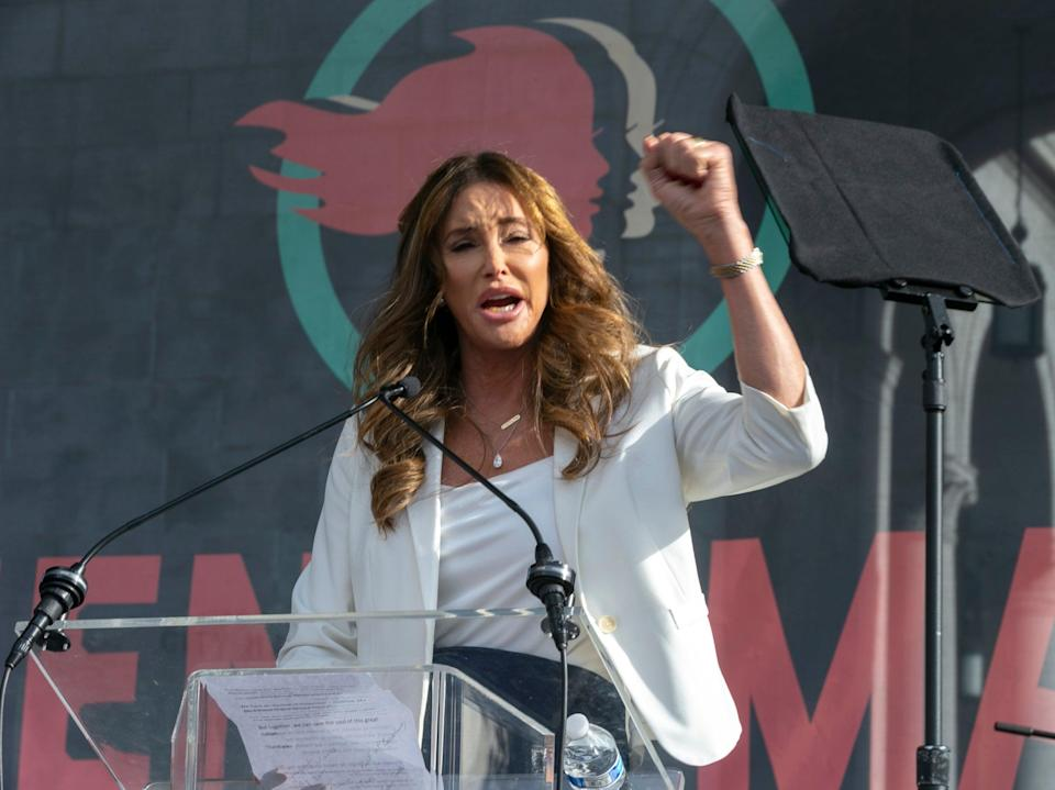 Caitlyn Jenner speaks at the 4th Women's March in Los Angeles on 18 January 2020 (AP)